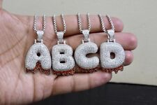 Dripping Initial Custom Bubble Letter A-Z Pendant Sterling Silver Lab Diamonds
