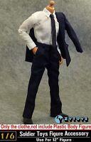 "Hot ZY Toys 1/6 Scale Men's Blue Suit Shirt Clothes Set For 12"" Male Figure Body"