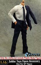 """1/6 Scale Men's Blue Suit Shirt Clothes Set For Hot Toys 12"""" Male Figure Body"""