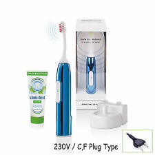 NEW Emmi-dent Chrome Electric Toothbrush Ultrasound Clean Brighten Sky Blue