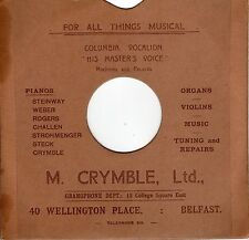 """Vintage record card SLEEVE for 10"""" 78 rpm shellac M. Crymble Wellington Belfast"""