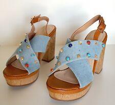 Sandalias Y De Medio2 Textiles 7 Azules Tacón Mujer 5 Chanclas Y7y6fgb