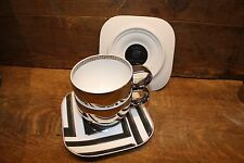 """VERSACE by Rosenthal """"Dedalo Platinum"""" set of 2 cups and 2 saucers NEW OLD STOCK"""
