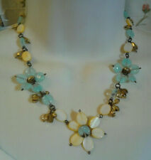 Blue Art Glass & Mother Of Pearl Shell Flower Bead Necklace