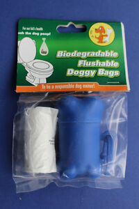 Biodegradable Dog Poo Waste Bags, Flushable with Bone Shaped Dispenser (20 bags)