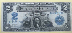RARE PARKER/BURKE 1899 $2 SILVER CERT, NO PINHOLES OR TEARS BRIGHT BLUE SEAL