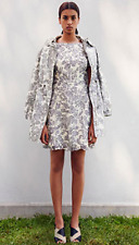 Tory Burch Summer Guipure Lace Dress 8 Floral M Mini Grey $495 NWT