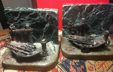 Vintage Copper Sculpture by CURTIS CLAWSON, Nautical Boat & Dock Bookends Marble