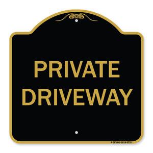 Designer Series Sign - Private Driveway | Black & Gold Heavy-Gauge Aluminum