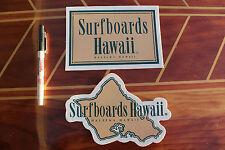 Vintage SURFBOARDS HAWAII - Brown -Dick Brewer 5x7in. Vinyl Sticker - Lot of 2