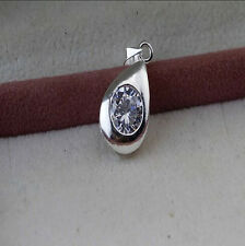 Women Jewelry 925 Sterling Silver Crystal drip Pendants Necklace Chain