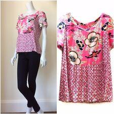 WHITE STUFF Tea Time Peplum blouse top summer petal pink olive white RRP £49.95
