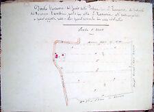 1850 MAPPA CATASTALE DI SAN ZACCARIA RAVENNATE DISEGNATA A MANO A COLORI