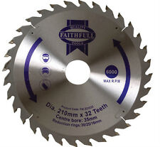 210mm TCT CIRCULAR SAW BLADE - 35mm BORE WITH 16, 25 & 30mm REDUCTION RINGS