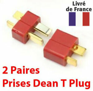 2 Paires CONNECTEUR Prises Dean T Plug - RC LIPO- NEUF