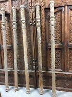 18c Indian Antique Five Hand Carved Pillars Columns Teak Leaf Carving.