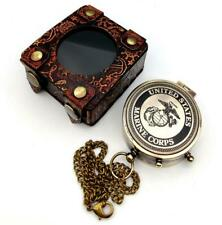 US MARINE CORPS Engraved Brass Compass Gift/ Nautical Marine Gift