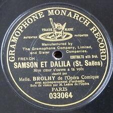"""78rpm 12"""" MELLE BROLHY paris opera comique MON COEUR S`OUVRE A TA VOIX single sd"""
