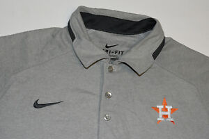 NIKE Dri-Fit Houston Astros Gray Heather Polo Shirt MLB Men Size Medium EUC B45