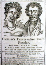 BEST 1828 illustrated DENTAL AD showing good & bad teeth usingA TOOTHPASTE BRAND
