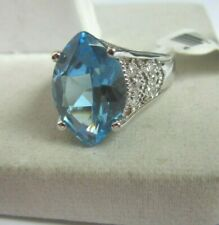 925 silver White and Blue Cubic Zirconia ring - size 8