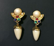 """Stones Clip On Heavy Egyptian Style Earrings 1 1/4"""" x 2 1/2"""" Faux Pearls Color"""