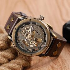 SHENHUA Bronze Self-Wind Mechanical Genuine Leather Strap Men Dress Wrist Watch