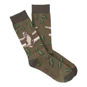 New K. Bell Men Crew Socks 10-13 Shoe 6.5-12 SLOTH Olive Green Arch Support gift
