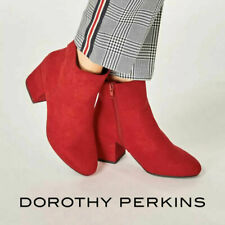 Dorothy Perkins Womens Red Ankle Boots Block Heel Wide Fit Shoes Size 4 5 6 7 8