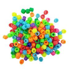 Granos de poni de plástico 6x8mm X 100 granos de la fabricación de joyas Cabello Trenzado artesanía Hazlo tú mismo