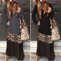 Mode Femme Manche Longue Col v Couture en  Leopard Droit Jupe Maxi Robe Plus