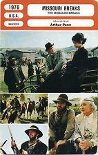 Movie Card. Fiche Cinéma. The Missouri breaks (USA) Arthur Penn 1976