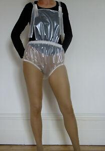 PVC Play Suit Bib Pants Panties Knickers Pearly Romper Playsuit Plastic 4 Sizes
