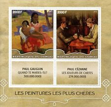 Congo 2016 MNH Paintings Paul Gauguin & Paul Cezanne 2v M/S Art Stamps