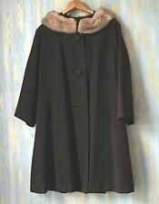 Brown Coat with Mink Fur Collar - Vintage