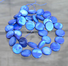 Blue Coin Mother of Pearl Shell Beads Strand 10mm 37b