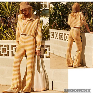 New Free People Vacation Vibes Retro Striped Flare Set $198  SMALL Yellow Combo