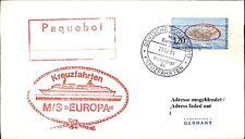 Dt. Schiffspost Schiff MS EUROPA roter Paquebot Stempel Shipletter frankiert