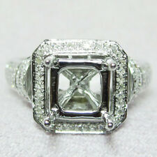 6x6mm Princess Cut 14K White Gold 0.52ct Diamond Semi Mount Ring Setting