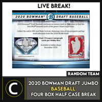 2020 BOWMAN DRAFT JUMBO BASEBALL 4 BOX (HALF CASE) BREAK #A1014 - RANDOM TEAMS