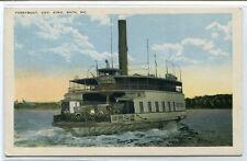 Car Ferry Boat Governor King Bath Maine 1920c postcard