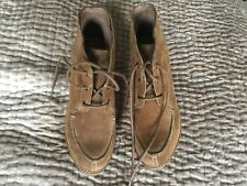 Womans Tan Suede Lace Up Ankle Boots Size 5.5 Footglove In Excellent Condition