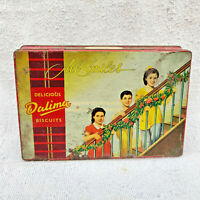 1950s Vintage All Smiles Kids Dalmia Biscuits Confectionery Advertising Tin Box