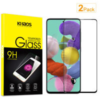 2X KS For Samsung Galaxy A51 Full Cover Tempered Glass Screen Protector -Black