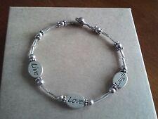 """Silver Tone 7"""" Live, Love, Laugh Bracelet"""