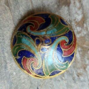 "Antique Enamel Button, 1"" Victorian Button, Blue, Green Red, Vintage Button"