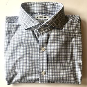 Twillory Blue/White Check Tailored Slim-Fit Non-Iron Men's Dress Shirt 16, 34/35