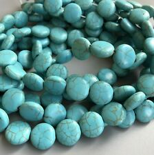 """18X15MM TURQUOISE HOWLITE GEMSTONE BLUE CARVED SKULL HEAD LOOSE BEADS 7.5/"""""""