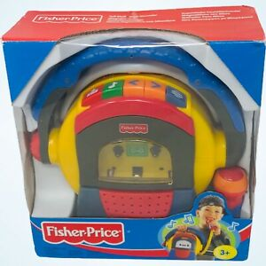 Fisher Price Tuff Stuff Cassette Player Recorder 1999 Microphone With Box Tested