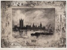 Felix Buhot (French, 1847–1898) Westminster Palace London Etching 1884 Framed
